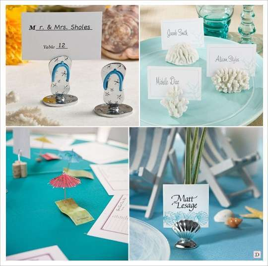 decoration mariage tropical marque place tong corail transat coquillage