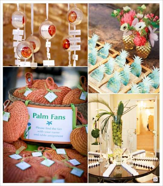 decoration mariage tropical plan de table boule plexiglas escort cards ananas eventail tresse