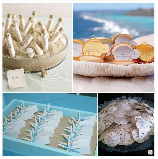 decoration mariage tropical plan de table coquillage eprouvette etoile de mer
