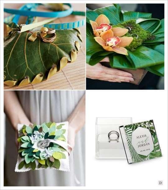 decoration mariage tropical coussin alliances orchidee feuillage boite en plexiglas