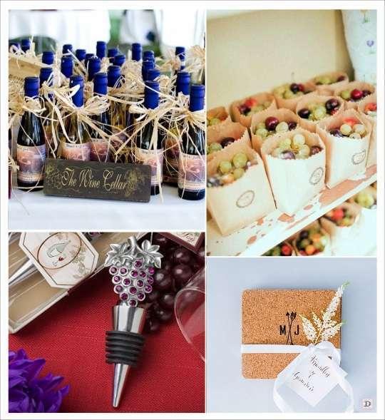 decoration mariage thème vin cadeaux invités bouchon stopper dessous de verre liège sachets de raisin