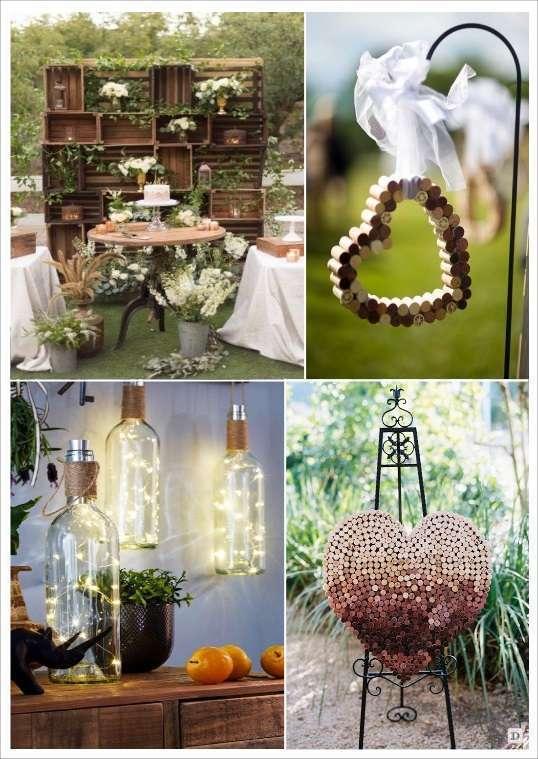decoration mariage thème vignoble deco salle caisse de vin pic à cérémonie coeur en bouchon de liège bouteille lumineuse