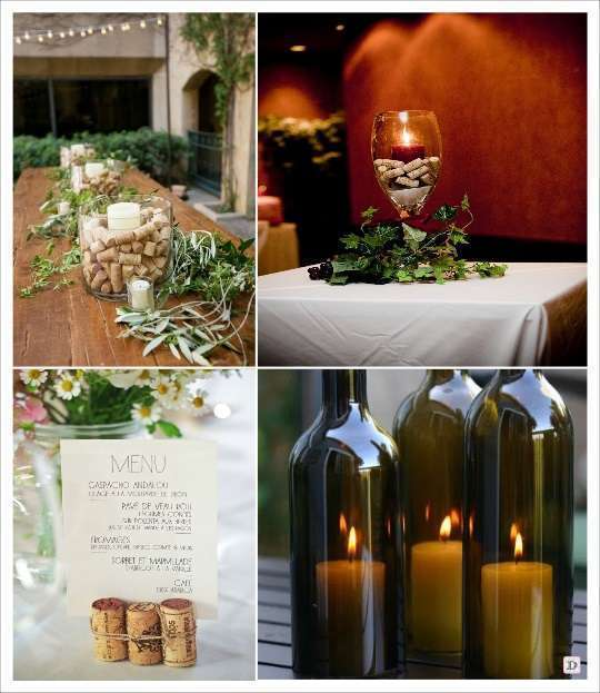 decoration mariage thème vin deco table bouchon de liège dans vase bougeoir bouteille