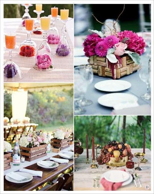 decoration mariage thème vin decoration table caisse de vin verre retourné