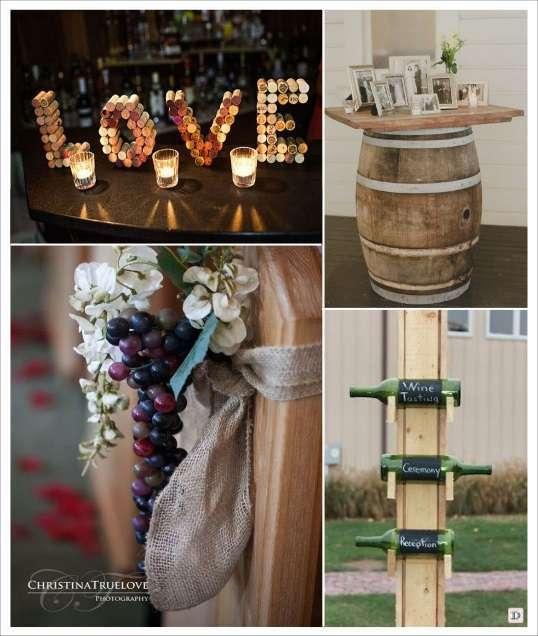 decoration mariage thème vignoble deco salle love en bouchons de liège décoration bancs raisin tonneaux de vin