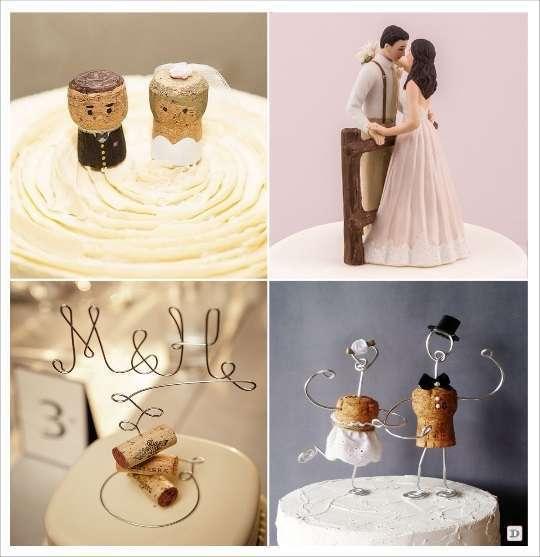 decoration mariage vignoble figurine porcelaine bouchon de liège mariés mr& mrs en fil métallique