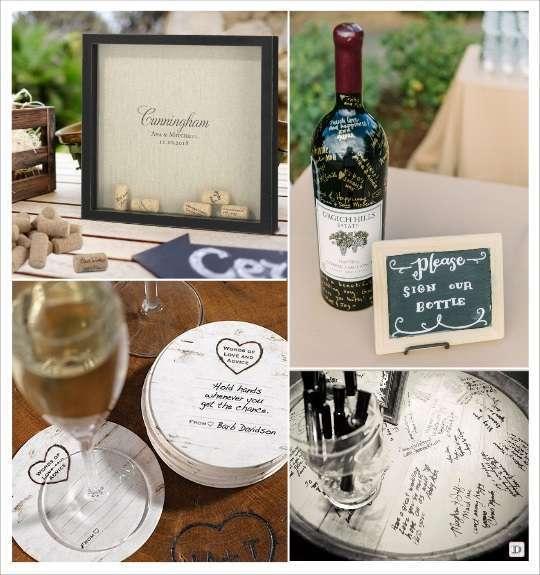decoration mariage thème vin cadre à messages bouchons liège bouteille plateau dessous de verre
