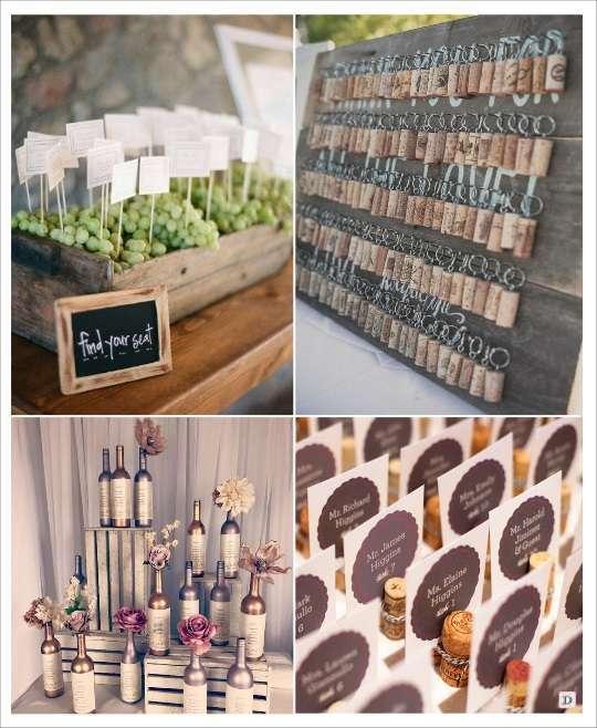 decoration mariage thème vin plan de table pancarte dans corbeille de fruit raisin porte clés bouchon plan de table sur bouteille