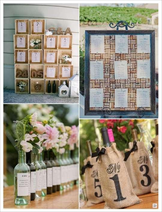 decoration mariage thème vin plan de table caisse de vin panneau liège sac jute numéro table