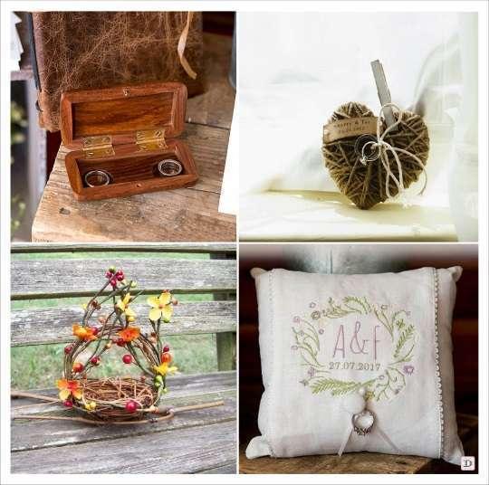 decoration mariage thème vin coussin allianes brodé couronne champêtre étui en bois gravé coeur en cordelette composition tige osier