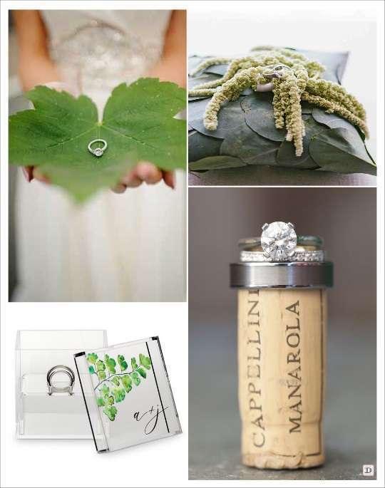 decoration mariage thème vin porte alliances cube plexiglas gravé coussin alliances végétal feuillage