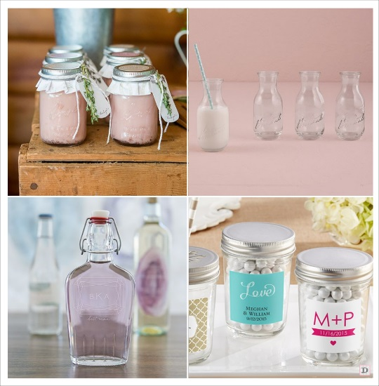 mariage vintage contenant dragees pot confiture bouteille de lait mason jar