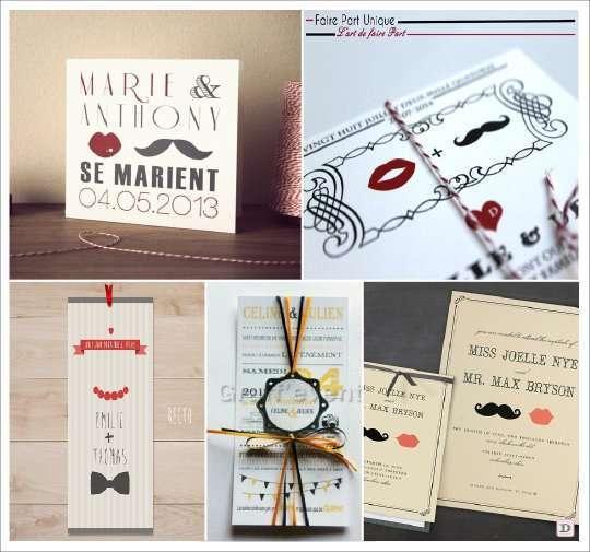Faire part de mariage theme vintage