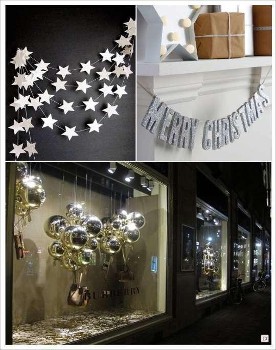 decoration vitrine noel ballon aluminium guirlande etoile