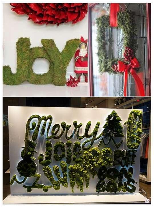 decoration vitrine noel lettre en mousse verte