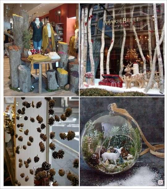 decoration de vitrine de noel bois tronc branches pomme de pin