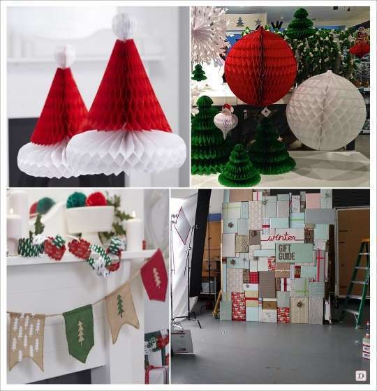 decoration vitrine noel boule en papier alveole bonnet pere noel guirlande