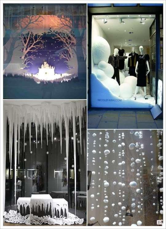 decoration vitrine de noel fausse neige flocon boule de coton