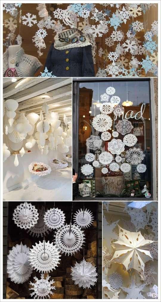 decoration vitrine noel flocons en papier papier alveole napperon