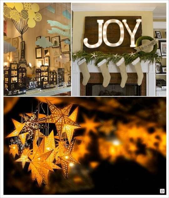 decoration vitrine noel village en papier photophore lettre lumineuse lanterne etoile