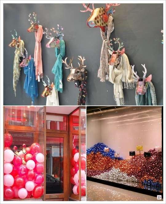 decoration vitrine noel tete de cerf renne ballons bouse de sapin
