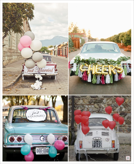 decoration voiture mariage theme champetre