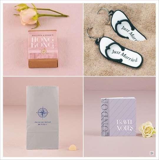 mariage voyage cadeaux aux invites boite allumette personanlisee porte clés tong blocnot sac papier boussole