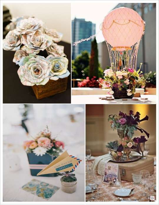 Decoration table mariage theme voyage for Deco sejour rose