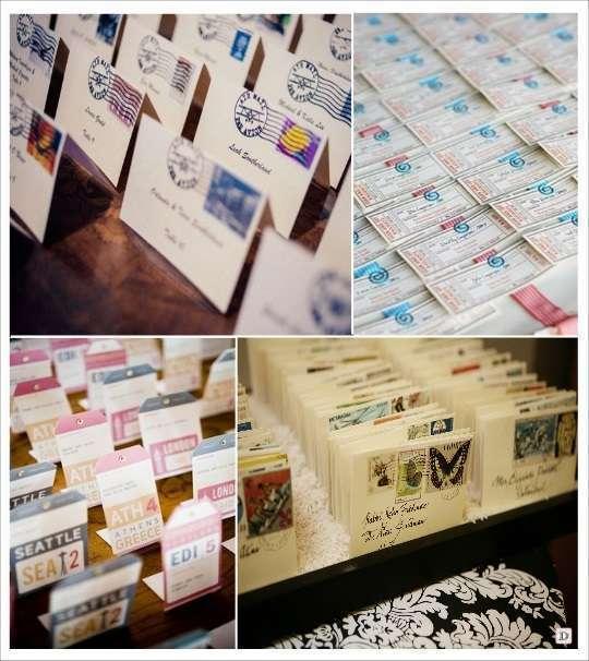 plan de table mariage voyage escort card carte postale borne kilometrique