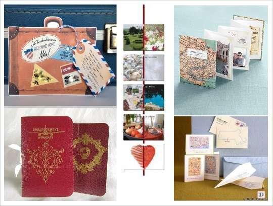 faire part mariage voyage valise passeport carte postale
