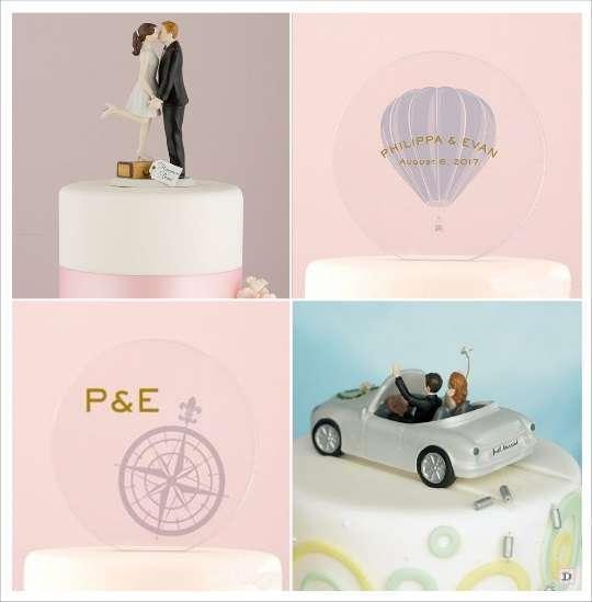 figurine de gateau mariage voyage plexiglas gravé boussole montglfiere