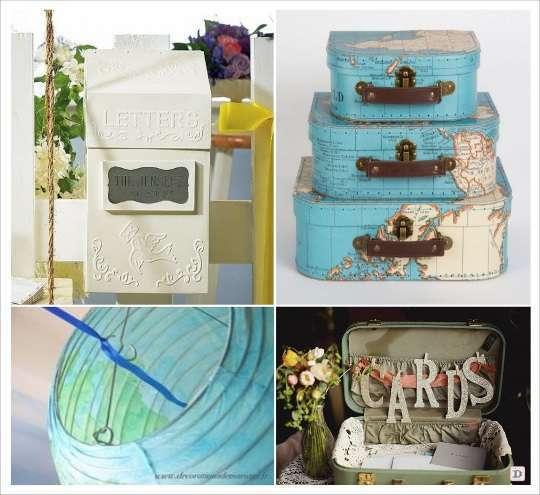 mariage voyage urne globe valise boiet aux lettres