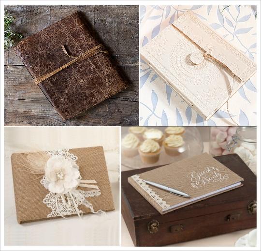 livre d'or mariage couverture cuir toile de jute