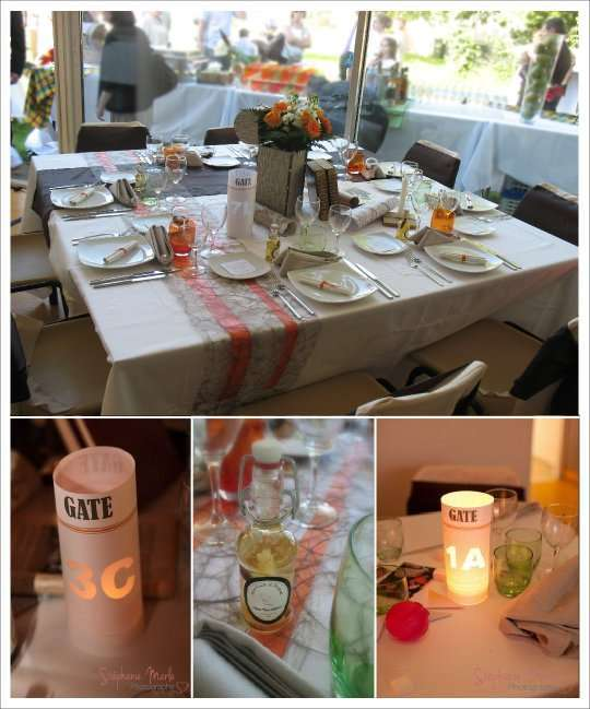 decoration mariage voyage photophore nom table