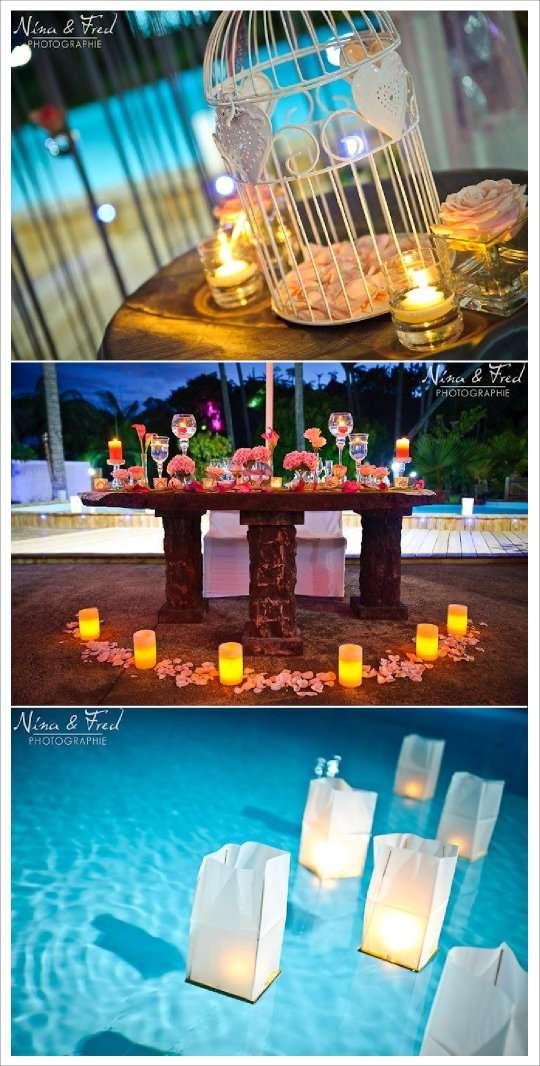 Mariage contes de fee gris rose - Deco autour de la piscine ...