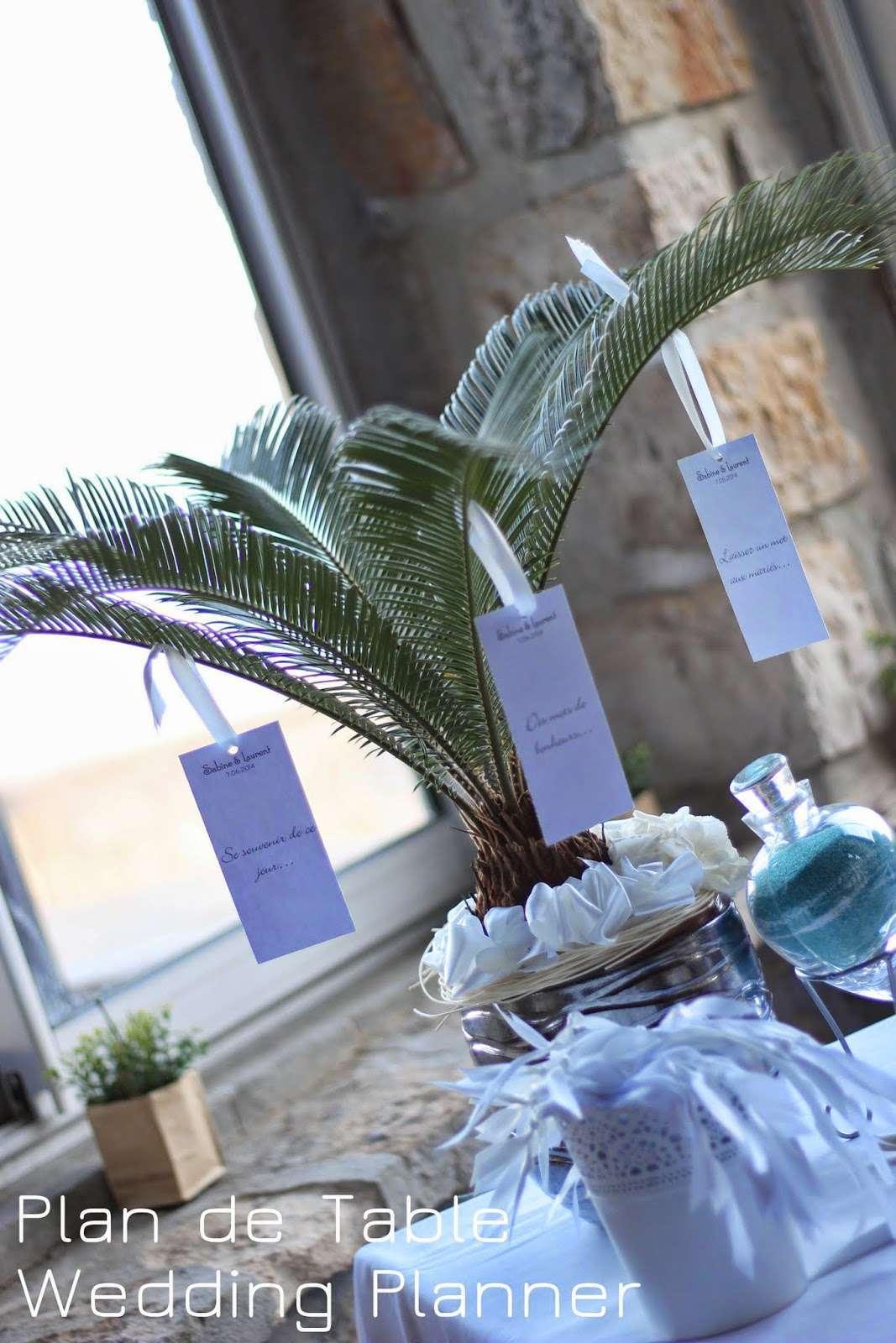 decoration mariage mer plan de table palmier