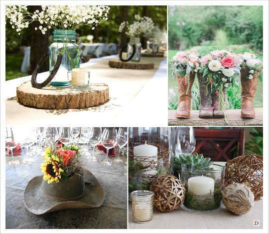 Country chic wedding western theme wedding and decoration for Decoration table mariage