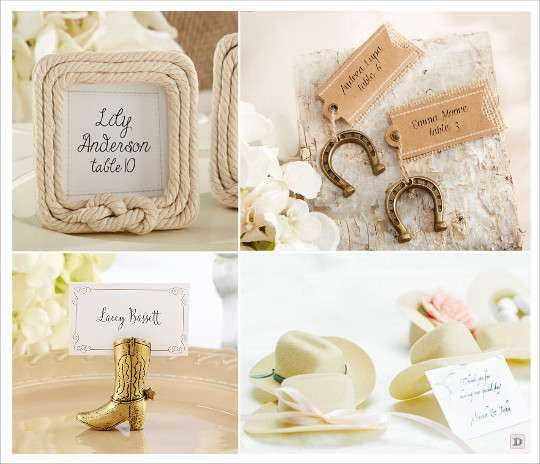 Country chic wedding western theme wedding and decoration - Marque places mariage ...