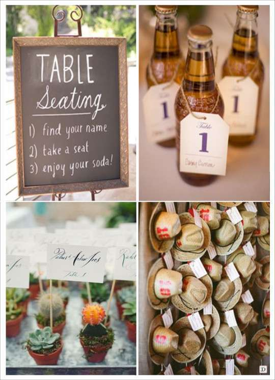 decoration mariage western country escort cards bouteille soda cactus ...